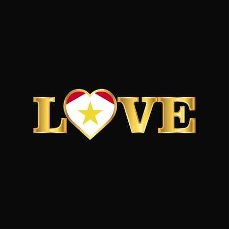 Golden Love typography saba flag design vector