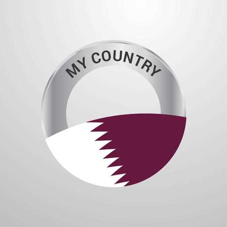 Qatar My Country Flag badge Illustration