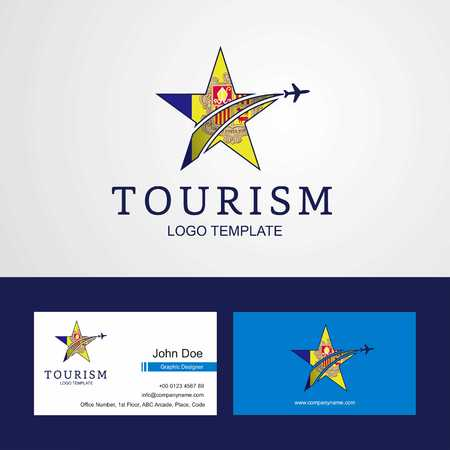 Travel Andorra flag Creative Star Logo and Business card design