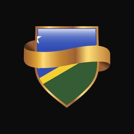 Solomon Islands flag Golden badge design vector Çizim