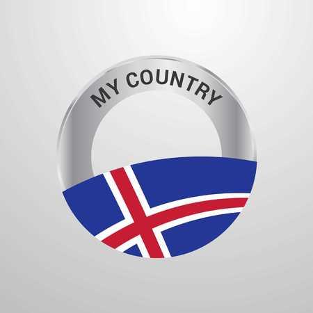 Iceland My Country Flag badge Ilustração