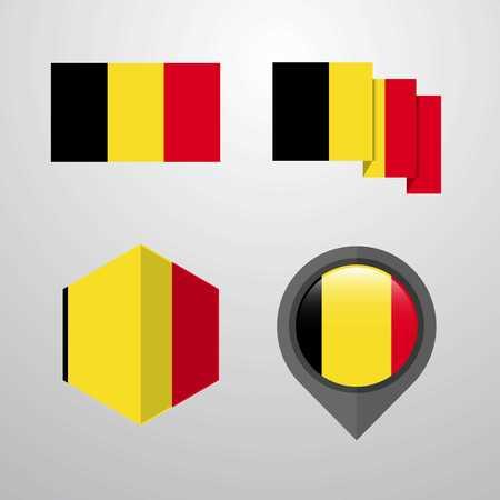 Belgium flag design set vector Illusztráció