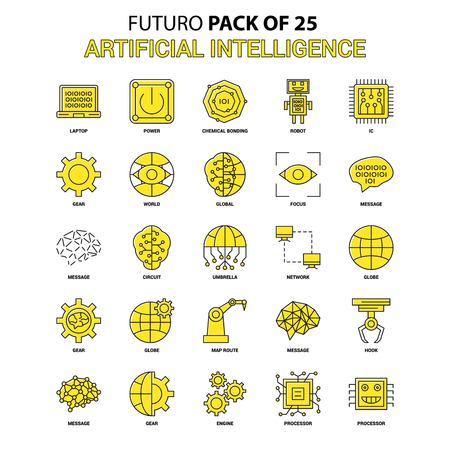 Artificial Intelligence Icon Set. Yellow Futuro Latest Design icon Pack