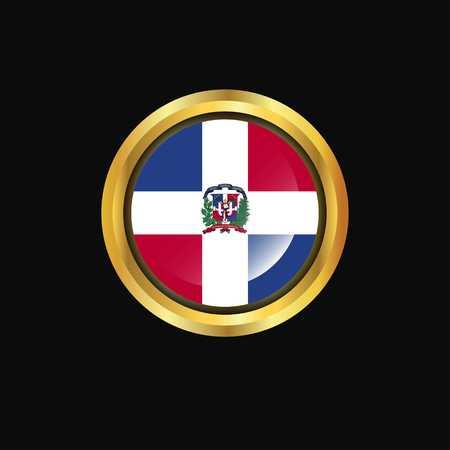 Dominican Republic flag Golden button