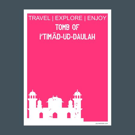 Tomb of Itimad-ud-Daulah Agra, India monument landmark brochure Flat style and typography vector Illustration