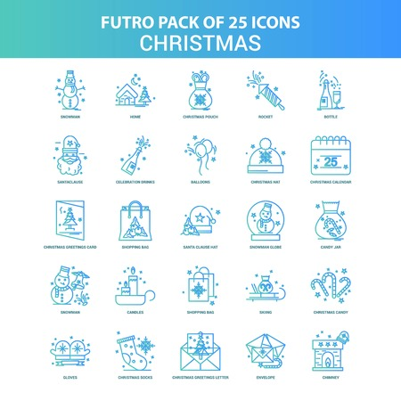 25 Green and Blue Futuro Christmas Icon Pack