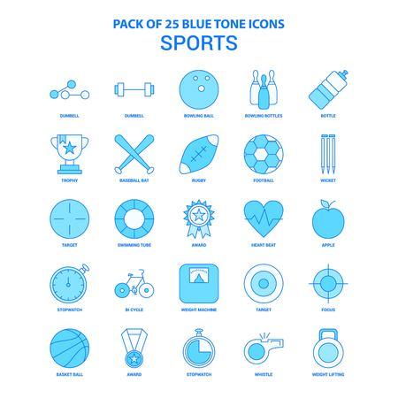 Sports Blue Tone Icon Pack - 25 Icon Sets Illustration