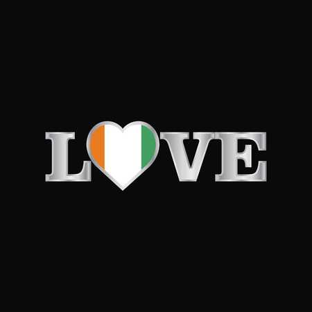 Love typography with Cote d Ivoire  Ivory Coast flag design vector