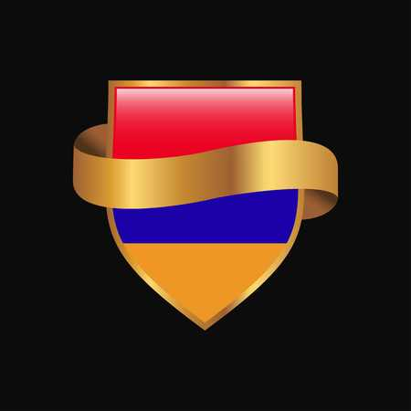 Armenia flag Golden badge design vector