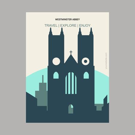 Westminster Abbey London , UK Vintage Style Landmark Poster Template Векторная Иллюстрация