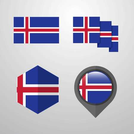 Iceland flag design set vector