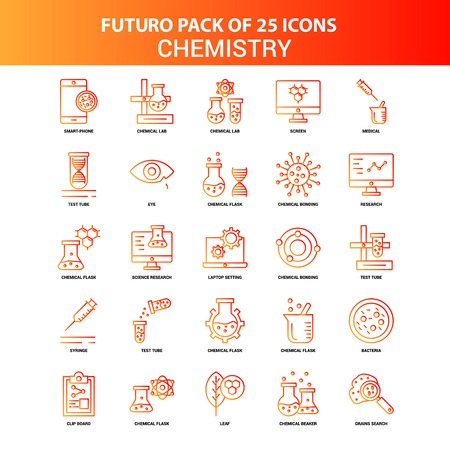 Orange Futuro 25 Chemistry Icon Set