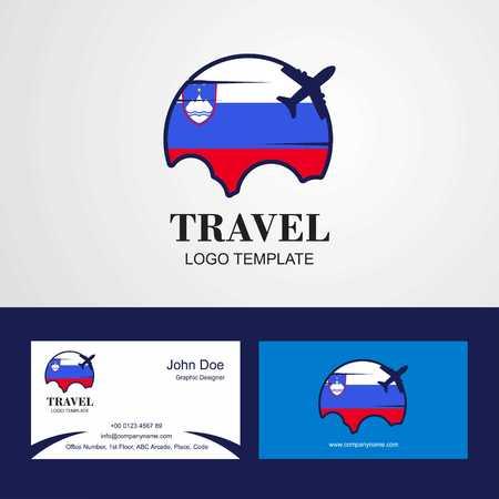 Travel Slovenia Flag Logo and Visiting Card Design