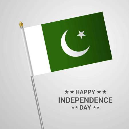Pakistan Independence day typographic design with flag vector Illustration