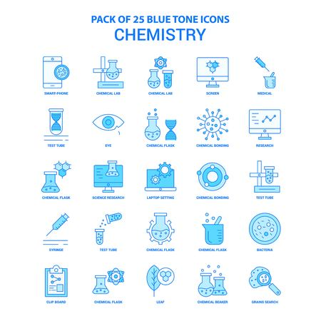 Chemistry Blue Tone Icon Pack - 25 Icon Sets