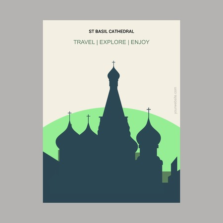 St Basil Cathedral Moscow, Russia Vintage Style Landmark Poster Template