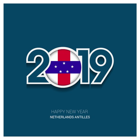 2019 Netherlands Antilles Typography, Happy New Year Background