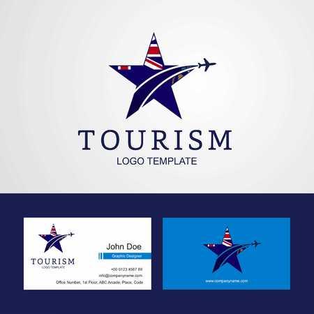 Travel Tristan da Cunha flag Creative Star Logo and Business card design Illustration