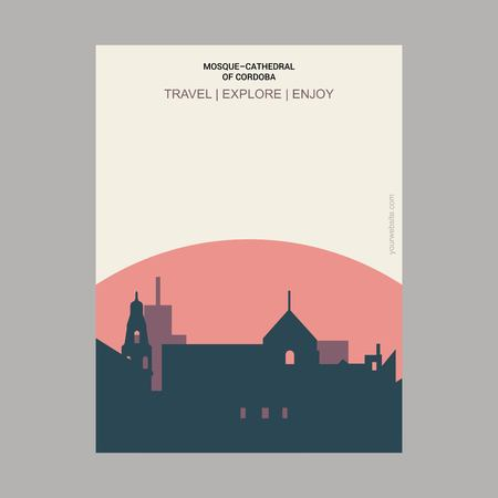 Mosque-cathedral of Cardoba, Spain Vintage Style Landmark Poster Template