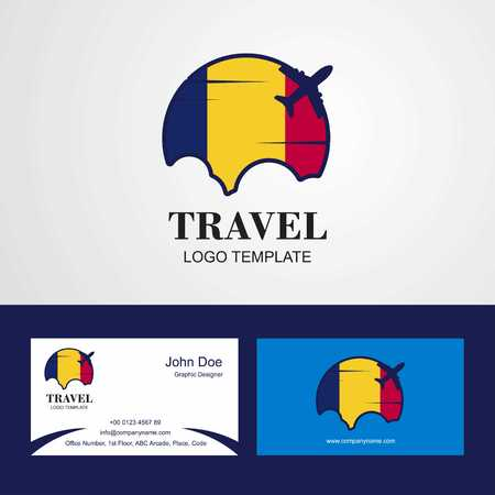 Travel Chad Flag Logo and Visiting Card Design