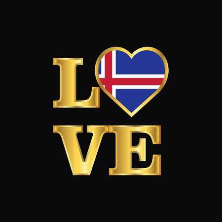 Love typography Iceland flag design vector Gold lettering Ilustração