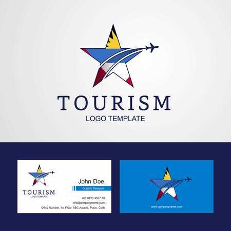 Travel Antigua and Barbuda flag Creative Star Logo and Business card design