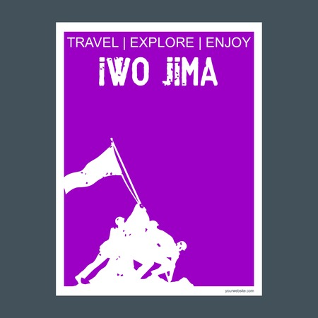Iwo Jima, USA monument landmark brochure Flat style and typography vector