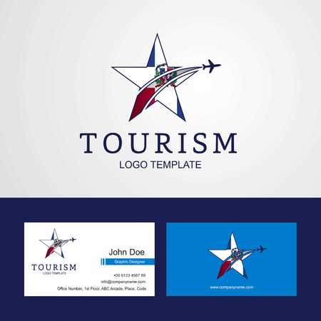 Reisen Dominikanische Republik Flagge Creative Star Logo und Visitenkartendesign