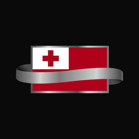 Tonga flag Ribbon banner design