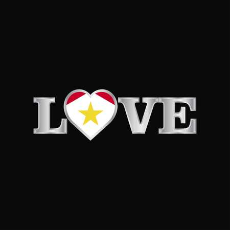 Love typography with saba flag design vector