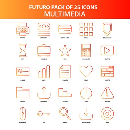 Orange Futuro 25 Multimedia Icon Set Stok Fotoğraf - 118299000