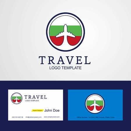 Travel Bulgaria Creative Circle flag Logo and Business card design