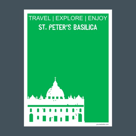 St Peter's Basilica, Italy monument landmark brochure Flat style and typography vector