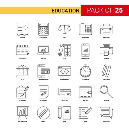 Education Black Line Icon - 25 Business Outline Icon Set Illustration