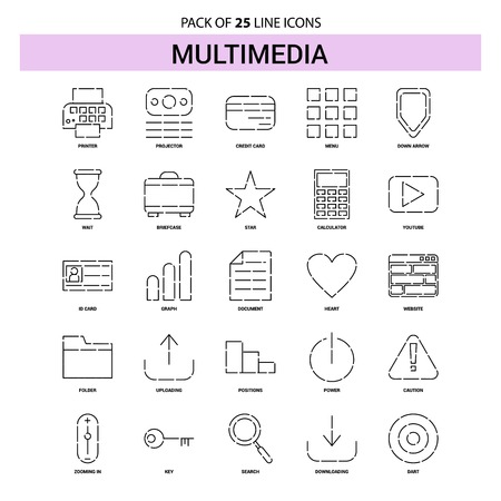 Multimedia Line Icon Set - 25 Dashed Outline Style