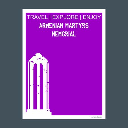 Armenian Martyrs Memorial CA , USA monument landmark brochure Flat style and typography vector