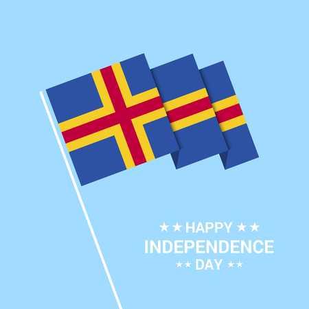 Diseño tipográfico del día de la independencia de Aland con vector de bandera