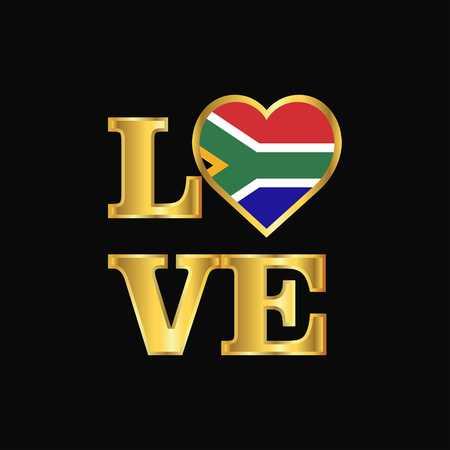 Love typography South Africa flag design vector Gold lettering Illustration