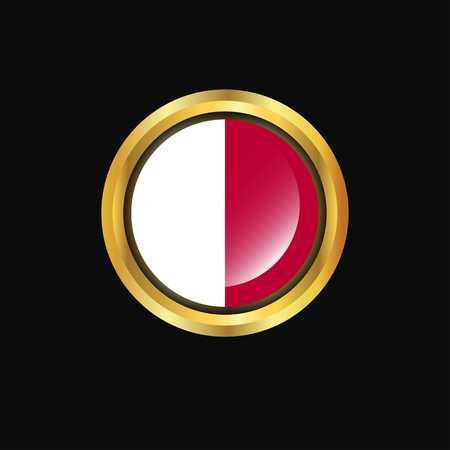 Malta flag Golden button Vektoros illusztráció