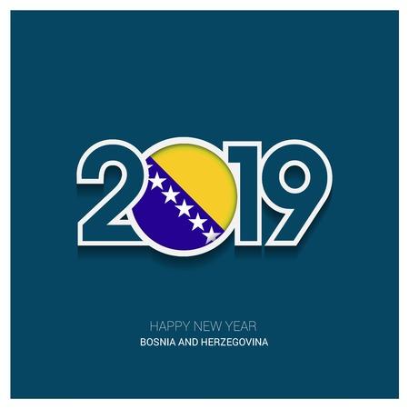 2019 Bosnia and Herzegovina Typography, Happy New Year Background