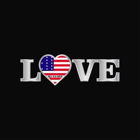 Love typography with Bikini Atoll flag design vector