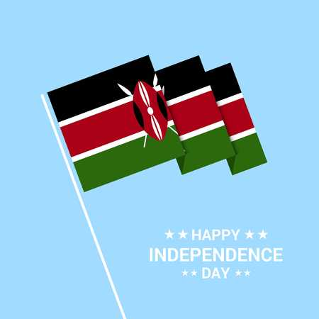 Kenya Independence day typographic design with flag vector