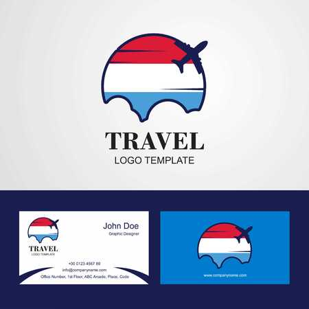 Travel Luxembourg Flag Logo and Visiting Card Design