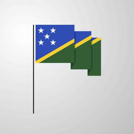Solomon Islands waving Flag creative background Çizim