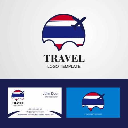Travel Thailand Flag Logo and Visiting Card Design