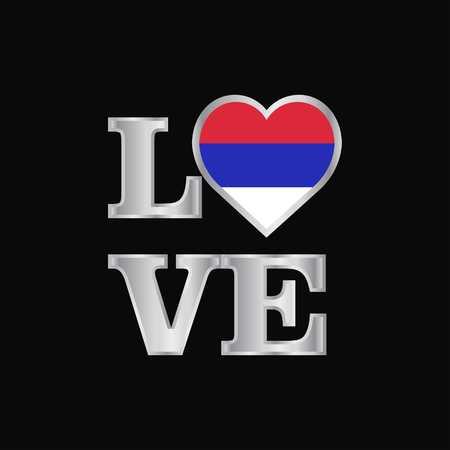 Love typography Republika Srpska flag design vector beautiful lettering Illustration