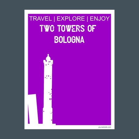 Two Towers of Bologna , Italy. monument landmark brochure Flat style and typography vector Vectores