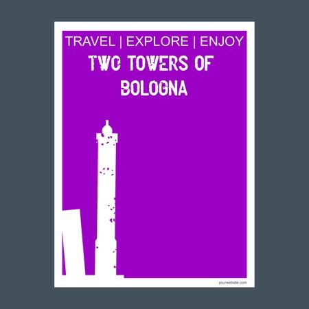 Two Towers of Bologna , Italy. monument landmark brochure Flat style and typography vector Illusztráció