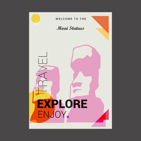 Welcome to The Moai Statues Easter island, Chile Explore, Travel Enjoy Poster Template