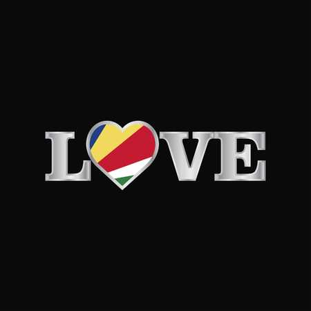 Love typography with Seychelles flag design vector